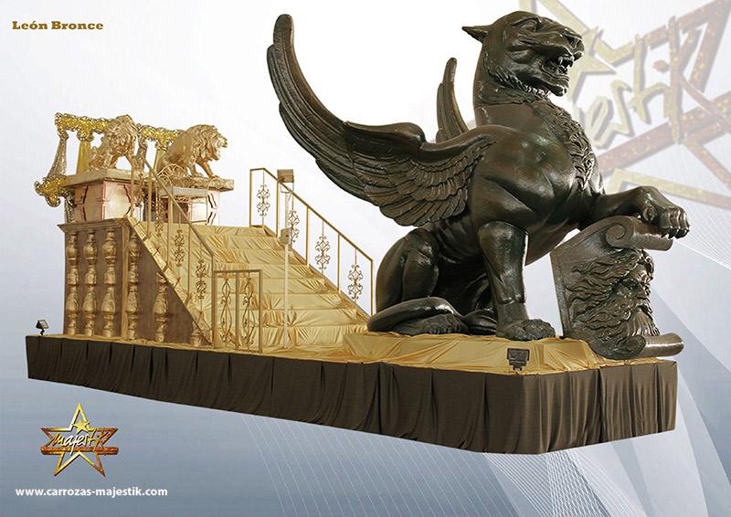 Carroza león de bronce