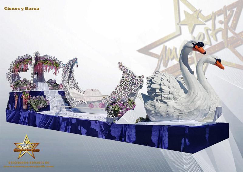 Carroza con figuras de cisnes