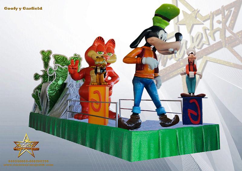 Carroza infantil con figuras de Goofy y Garfield