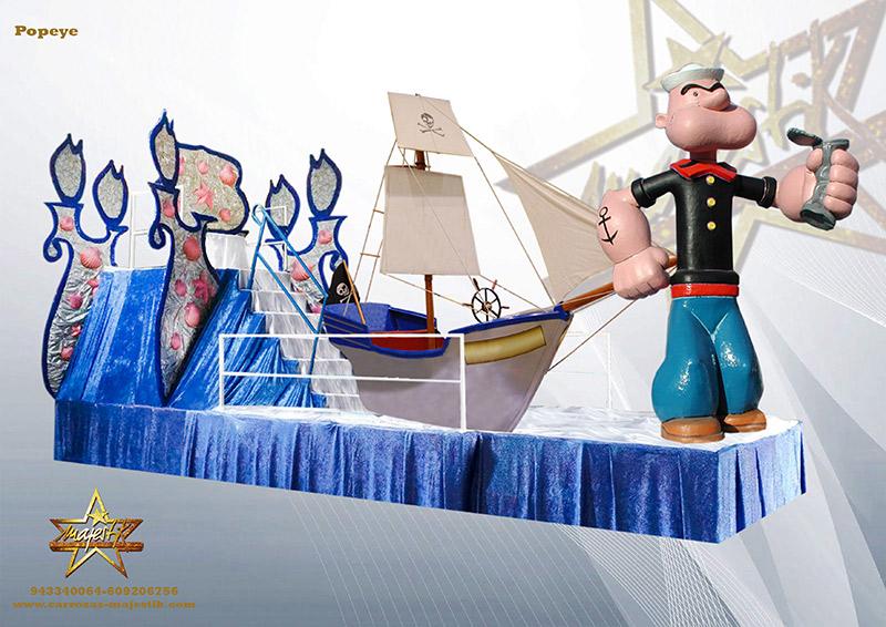 Carroza infantil con figura de Popeye