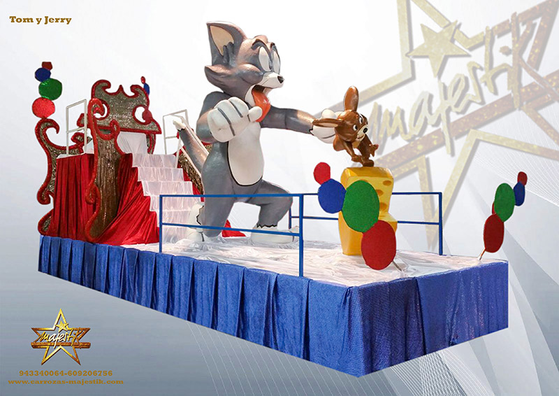 Carroza infantil con figuras de Tom y Jerry