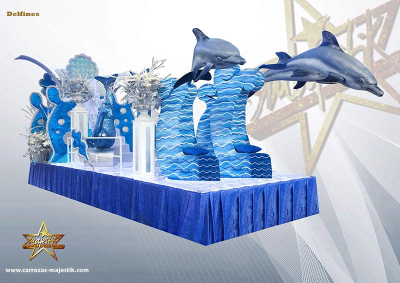 Carroza delfines saltando