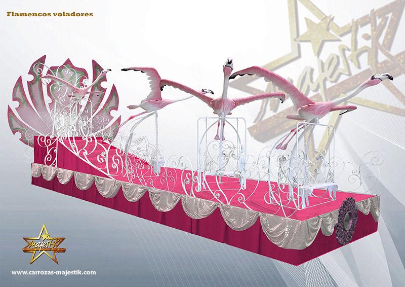 Carroza flamencos voladores