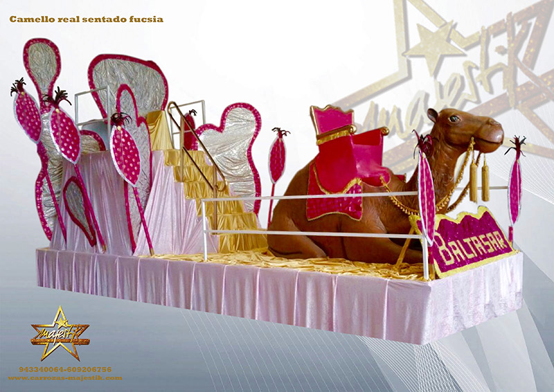 carroza camello sentado fucsia