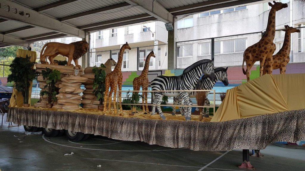 Carroza de inspiración africana para desfiles y eventos